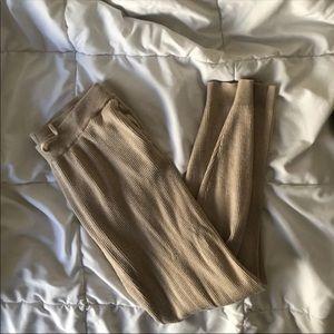 pacsun high rise ribbed tan sweats